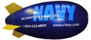 17' giant advertising blimp, helium fill or air fill, great for trade show display, giant advertising blimps can be decorated with 1 color up to full color. Click here for more pictures of decorated advertising blimps. Click below for pics descriptions, prices and to buy 17' advertising blimps.